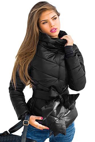 Selente #Fashionista Damen Jacke als praktische Übergangsjacke/leichte Winterjacke/Kurze Steppjacke in modischem Design ideal für Frühling und Herbst, Modell 5 Schwarz, Größe L