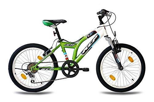 KCP 20 Zoll Mountainbike Kinderfahrrad - JETT SF Weiss grün - Hardtail Kinder Fahrrad für Jungen und Mädchen mit 6 Gang Shimano Schaltung - für Kinder zwischen 6-9 Jahre und 1,20-1,40m Körpergröße