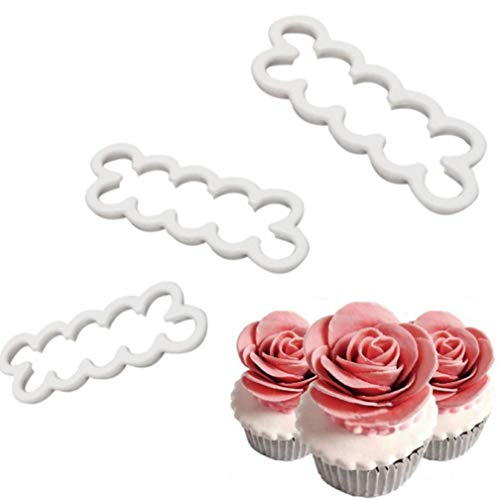3pcs/set 3D Cake Easiest Rose Petal Flower Cutter Mold Fondant Icing Fondant Decorating Mould Biscuit Cutter Tools