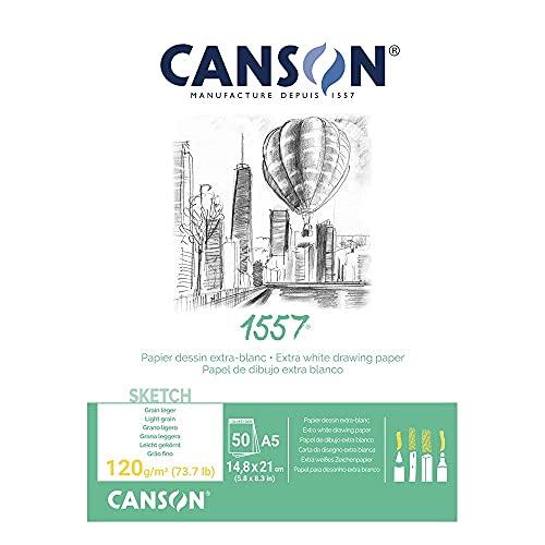 Canson - Blocco da 50 fogli di carta da disegno, 120 g, grana leggera, formato A5, colore: Bianco
