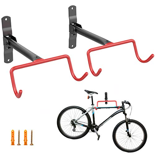 Housolution Bike Hanger Rack, [2 Pack] Heavy Duty Foldable Garage Wall Mount Bike Hanger Storage System, Horizontal Bike Hook with Anti-Scratch Rubber Coating - Holds up to 66 lb with Screws, Orange