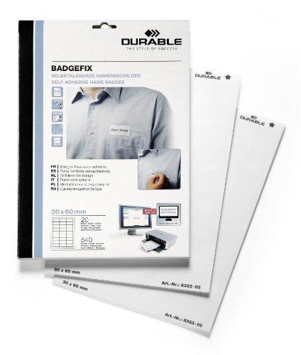 Durable 833302 zelfklevende naambordje Badgefix, 30 x 60 mm, wit, 540 stuks op 20 Bg. 30x60 mm wit