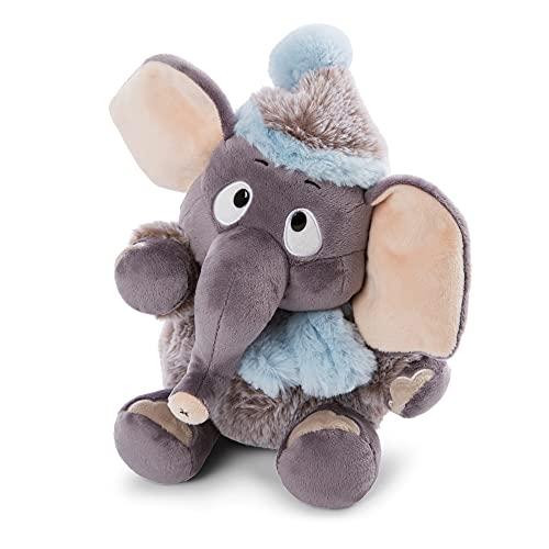NICI 47273 Suave 35 cm – Peluches, niños y bebés – Esponjoso Animal de Relleno para abrazar y Jugar – Tiernos Elefantes de la colección de Invierno, Gris/Azul, Color