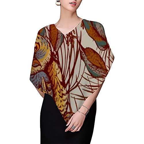 Otoño Búho Vintage Caída Bufandas para Mujeres Bufanda de Gasa Ligero Moda Bufandas Headscarf Chales Envolturas