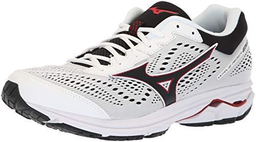 Mizuno Men's Wave Rider 22 Running Shoe, White/red, 7 D US