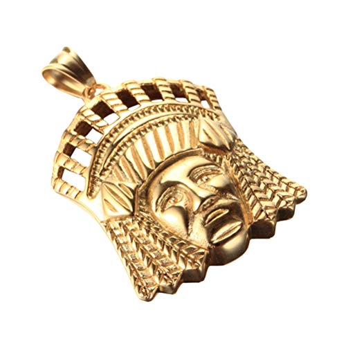 OAKKY Vintage Tribal Nativo Americano Indios Jefes Colgante Collares Hombre Acero Inoxidable Rey Corona Tocado de Plumas Hip Hop Oro 24' Cadena