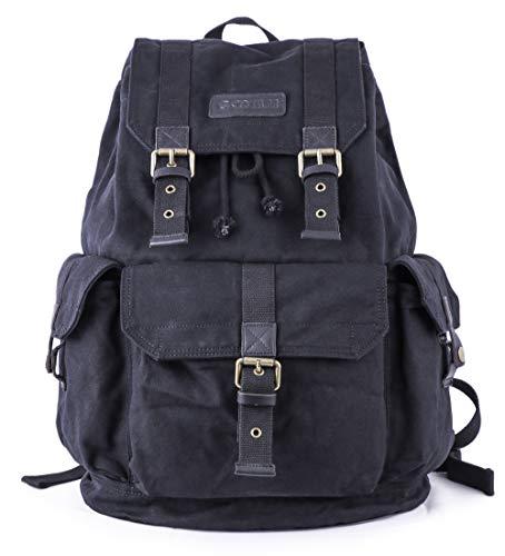 Gootium Canvas Rucksack Backpack Wanderrucksack Vintage Rucksäcke Unisex - Schwarz
