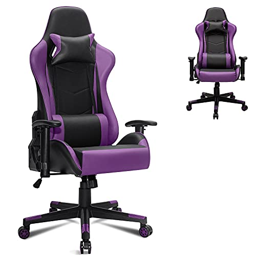 Gtracing Silla para juegos, silla para juegos, silla giratoria para juegos de masaje ajustable para adultos, silla de escritorio reclinable para juegos con reposacabezas y almohada lumbar (púrpura)