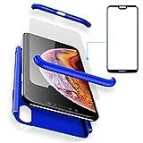 BCIT Huawei P20 Lite Funda Funda Huawei P20 Lite 360 Grados Integral para Ambas Caras + Cristal Templado, Luxury 3 in 1 PC Hard Skin Carcasa Case Cover para Huawei P20 Lite (Azul)
