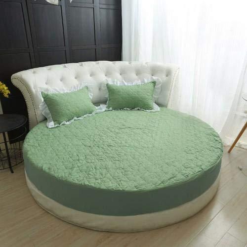 Heguowei Juego de sábanas Ajustables de Cama Redonda de algodón Sábanas de Color Rosa Verde con Colcha de Goma elástica Funda de colchón de algodón