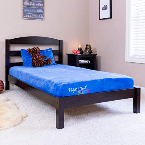 Perfect Cloud Kids Plush 7-inch Memory Foam Twin Mattress, Shredded Foam Pillow, and Teddy Bear for Day/Trundle/Bunk Bed - (Blue)