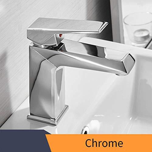 Gemengde water dubbele eenvoudige wastafelkraan, zwarte wastafelkraan, vierkante puur koperen kraan, gootsteenkraan, badkamerkraan-Chrome