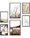 Heimlich Cuadros Decorativos - SIN Marcos -Decoración Colgante para Paredes de Sala, Dormitorios y Cocina - Arte Mural - 2 x A3 & 4 x A4-30x42 & 21x30 | » Playa del Mar «