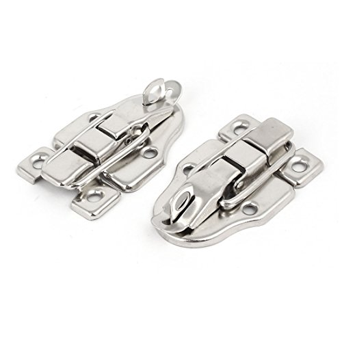 Uxcell a16122100ux0414 Wood Box Toolbox Cabinet Metal Spring Loaded Latches Catch Toggle Hasp (Pack of 2)