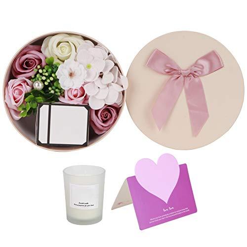 Emoshayoga Caja redonda de jabón de rosas románticas con forma de flor de jabón de flores artificiales, caja de pétalos de baño, vela perfumada para boda, día de San Valentín (rosa)