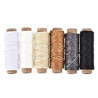 uxcell 革用手縫い糸 レザー用手縫い糸 ポリエステルワックス糸コード フラットスレッド 50M 175D/1mm 手縫いDIY用 多彩 6個入り