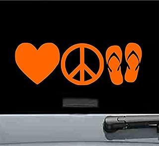 Love Peace Flip Flops Vinyl Decal Sticker (ORANGE)