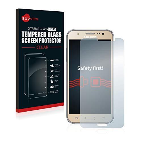 savvies Cristal Templado Compatible con Samsung Galaxy J7 2016 Protector Pantalla Vidrio Proteccion 9H Pelicula Anti-Huellas