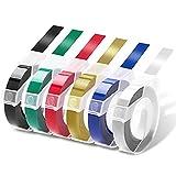 Prägeband 9mm für Etikettenprägegerät - 6 Rollen 3D Prägegerät Band für Etikettiergerät - Etikettenband für Dymo Omega und Junior Motex (Weiß auf Schwarz/Silber/Gold/Rot/Blau/Grün)