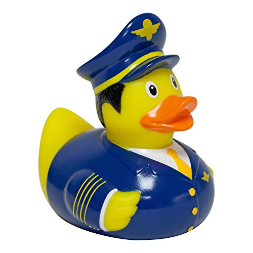 Quietscheente Pilot Ente, Gummiente, Quietscheentchen, Badeente, Quietsch Ente, Sammelfigur, Gummi Bade Spielzeug, LiLaLu, 2044