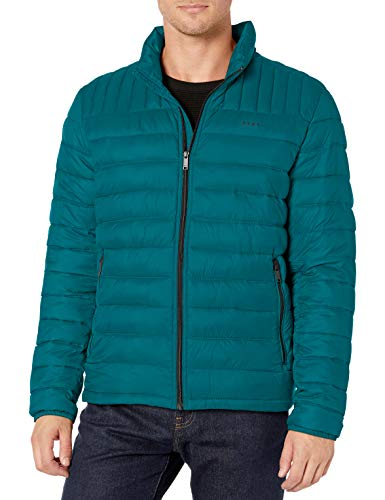 DKNY Men's Water Resistant Ultra Loft Quilted Packable Puffer Jacket, Teal, Medium