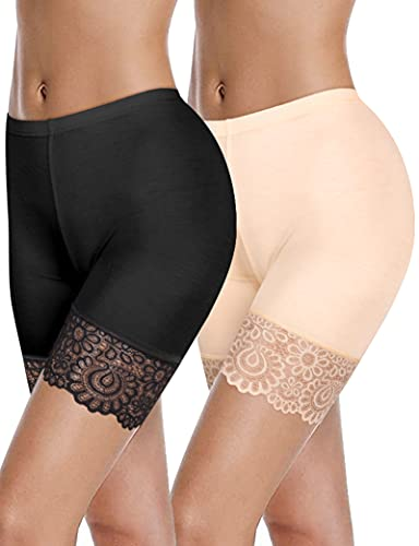 Kiiwah Pantalones Cortos Debajo de la Falda para Las Mujeres Pantalones de Seguridad sin Costuras de Encaje Anti Rozaduras Bóxers Slipshort Braguitas Leggings Ropa Interior Vestidos