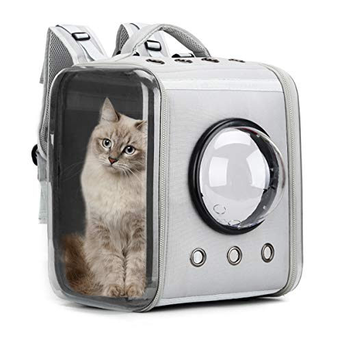 Prodigen Cat Backpack Carriers, Foldable Pet Backpack Carriers for Cats Puppy Dogs and Birds, Ventilate Transparent Capsule Carrier Backpack for Travel, Hiking and Outdoor Use-Gray