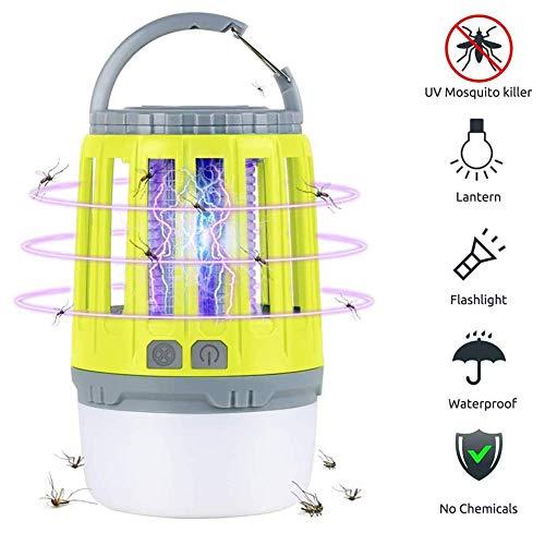 KOKIN UV Lámpara Antimosquitos, Lámpara Camping Antimosquitos, Portátil Impermeable Noche Lámpara LED Lámpara Impermeable para Patios, Jardin, Exterior, Acampar(Amarillo) U