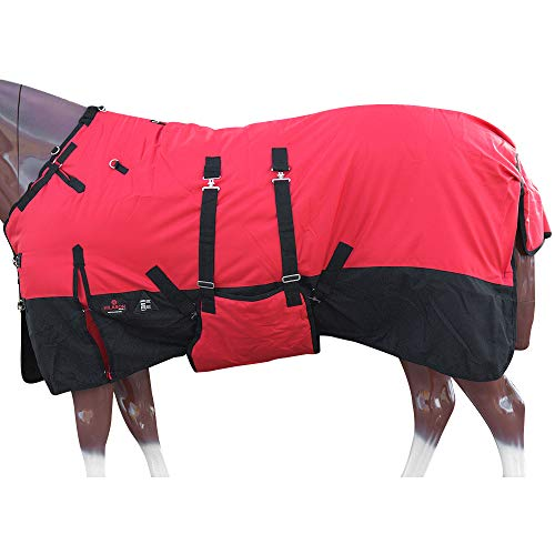 HILASON 72 in 1200D Winter Waterproof Poly Horse Blanket Belly Wrap Red