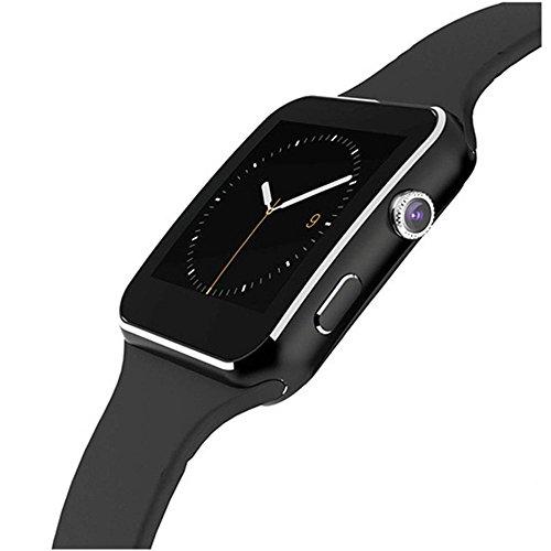 Smartwatch Bluetooth (supportato in italiano) / Orologio Android / con touchscreen e fotocamera, slot per schede SIM e TF, standby a lungo termine, adatto per smartphone Android e iPhone iOS (nero)