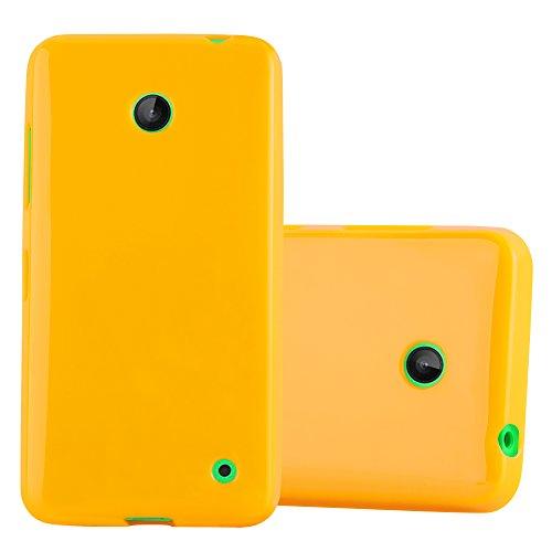 Cadorabo Hülle für Nokia Lumia 630/635 - Hülle in Jelly GELB – Handyhülle aus TPU Silikon im Jelly Design - Silikonhülle Schutzhülle Ultra Slim Soft Back Cover Case Bumper