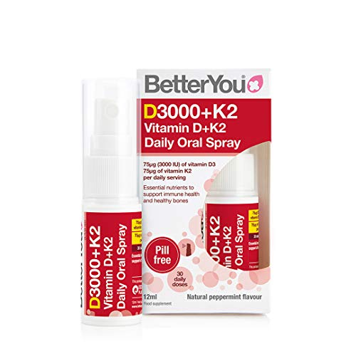 BetterYou Dlux Plus Vitamin D K2 Daily Oral Spray, Peppermint, 12 Ml