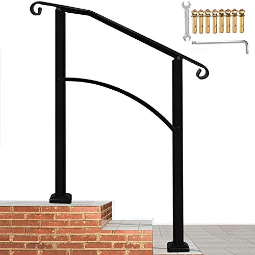 Handrails for Outdoor Steps, Black Handrail Arch,2 or 3 Steps Stair Handrail,Adjustable Outdoor Stair Railing with Installation Kit Hand Rails for Outdoor Steps(Black)