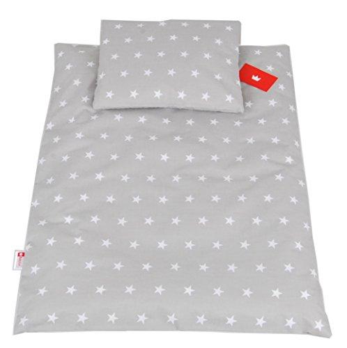BABYLUX 2 tlg. Set Bezug für Kinderwagen Stubenwagen oder Wiege Garnitur Bettwäsche Kissen Decke 60 x 78 cm (91. Sterne Grau)
