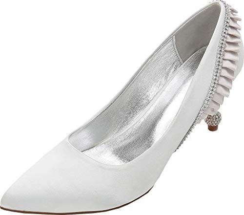 Find Nice Zapatos de boda para mujer, con diamantes de imitación, para mujer, con puntera puntiaguda, sin cordones, color Plateado, talla 38 EU