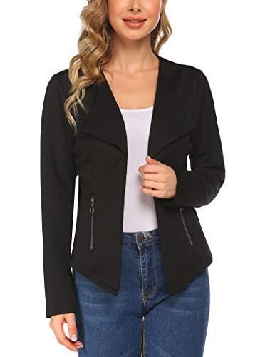 luvamia Women's Long Blazer Jacket Casual Notched Lapel One Button Work Office Blazer Jacket Suit Black Size Medium (Fits US 8-10)