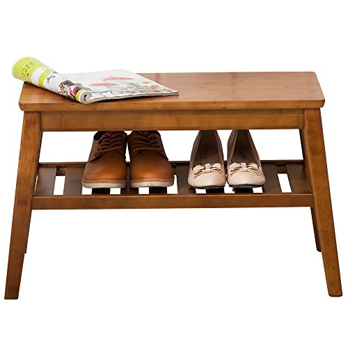 NNEWVANTE Shoes Rack Bench Free Standing Organizaing Rack Pure Wood Sturdy Shoes Storage Rack, 65cm Walnut