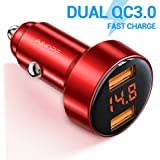 Car Fast Charger, AINOPE Dual QC3.0 Port 6A/36W USB Car Charger All Metal Cigarette Lighter USB Charger Voltage Display Compatible with iPhone 11/11 pro/XR/X/XS/8, Samsung Note 8/S9/S10+/S8 - Red