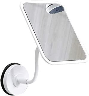 XZPENG Makeup Mirror, Portable Rectangle HD 360 Degree Rotation Suction Cup Wall Mount Vanity Mirror for Bathroom Bedroom (Color : White)