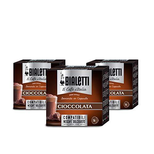 Bialetti Capsule Caffè Compatibili Dolce Gusto Cioccolata, 3 confezioni da 16 capsule (48 Capsule)