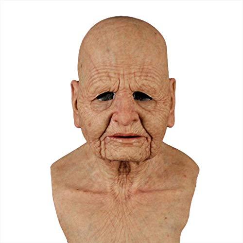 libelyef Máscara de Halloween, realista de látex, disfraz de hombre viejo, disfraz de Halloween, cabeza de látex, máscara facial de arrugas humanas (anciana)