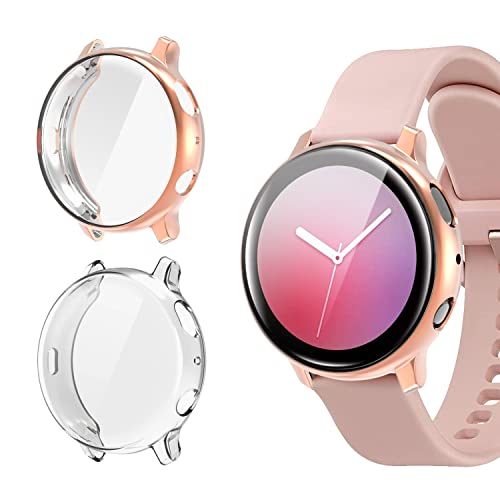 [2 Pack] Screen Protector Case Compatible with Galaxy Active 2 40mm, All-Around TPU Anti-Scratch Flexible Case Soft Protective Bumper Cover for Samsung Watch Active 2.Clear and Rose Gold(40mm)