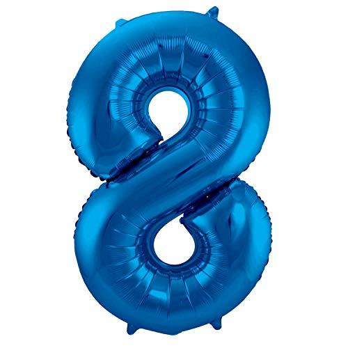 Folienballon 86 cm Blau Zahlenballon, Luftballon, Geburtstag, Zahl für Helium und Luftfüllung geeignet (Zahl: 8)