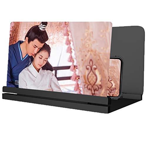 ARCH Telefon-Projektor, HD-Handy Bildschirmlupe, 3D-Universal Handy-Bildschirm Vergrößerungsglas for TV Und Film, Stand Telefon Kompatibel Mit for Smartphone Telefon (Color : Black, Size : 10inch)