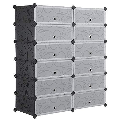 SONGMICS Armoire Etagère de Rangement à Chaussures, en Plastique, Noire imprimée, 12 Cubes, 93 x 36 x 105 cm (L x l x h) LPC26H