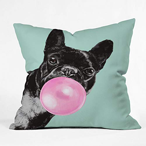 Society6 Big Nose Work Bubblegum French Bulldog Throw Pillow, 20' x 20', Blue