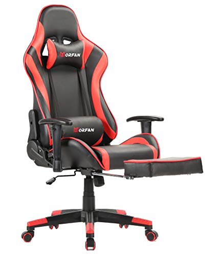 Morfan Gaming Chair Computer Office Chair with Footrest ,Massage and Rocking Function Swivel Racing Style PU Leather Racing Chair (red) chair gaming red