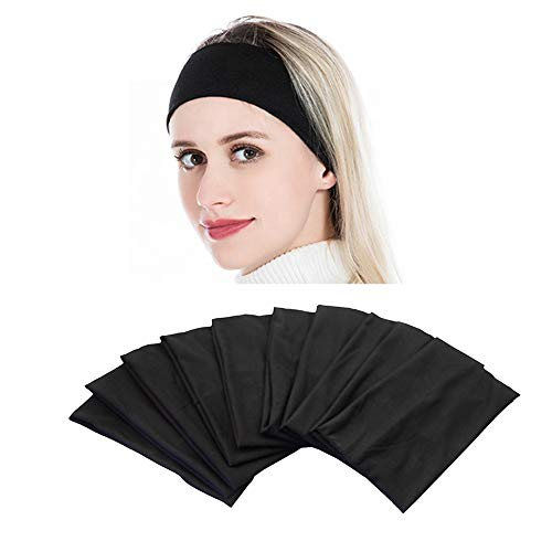 Yeshan Wide face mask headbands for women With Soft Stretchy Black Bandana Headbands Elastic Yoga Sports Headwrap,Pack of 10