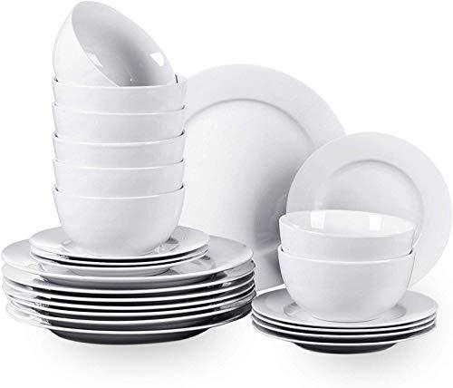 Waterside Fine China - Servizio di piatti, 24 pezzi, colore: Bianco puro
