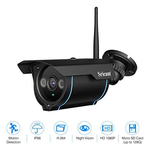 Sricam Seguridad IP Cámara de Viginancia Inalámbrica 1080P ONVIF ,CCTV, P2P, Detección de Movimiento, Visión Nocturna,2.0 Megapíxeles, Expansión de Memoria hasta 128G, Negro, SP007 (Actualizado)